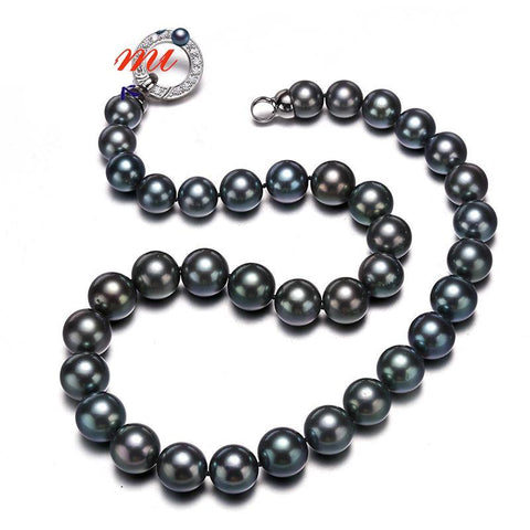 Tahitian Pearl Necklace w/ S925 Silver 9.5-12MM