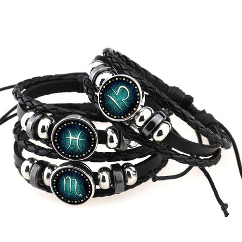 UNISEX 12 Constellation Braided Bracelet w/ Genuine Leather