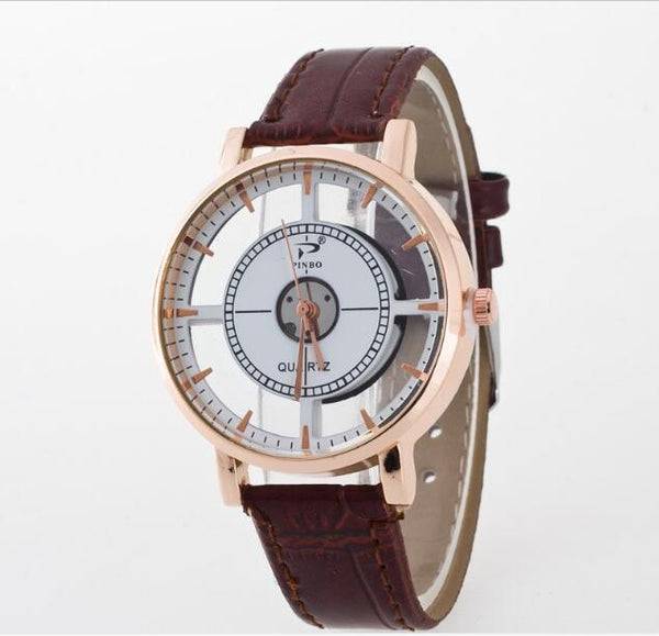 Hollow Quartz Movement Watch w/ Genuine Leather Strap