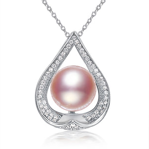 S925 Silver Pendant Necklace w/ Freshwater Pearls 10-10.5MM