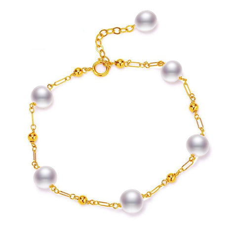 18K Gold Bracelet With Freshwater Pearls
