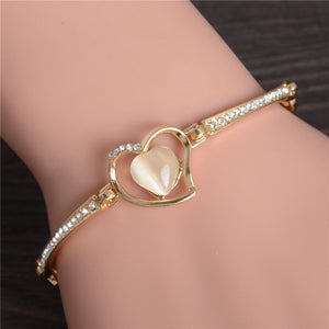 Golden Heart Themed Bracelet w/ Austrian Crystals & Natural Stone