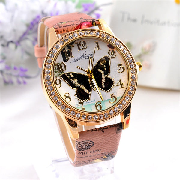 Butterfly Themed Quartz Watch w/ Floral Themed Leather Strap