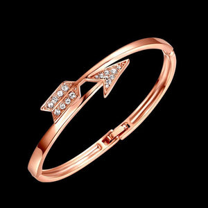 Rose Gold Arrow Themed Bangle w/ Austrian Crystals