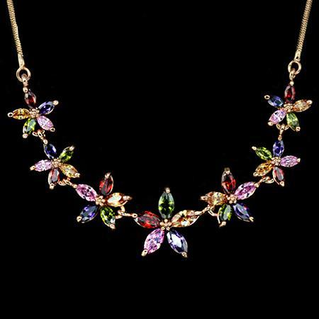 Rose Gold Floral Necklace w/ AAA CZ
