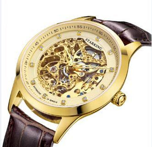 Gold Automatic Mechanical Watch Genuine Leather