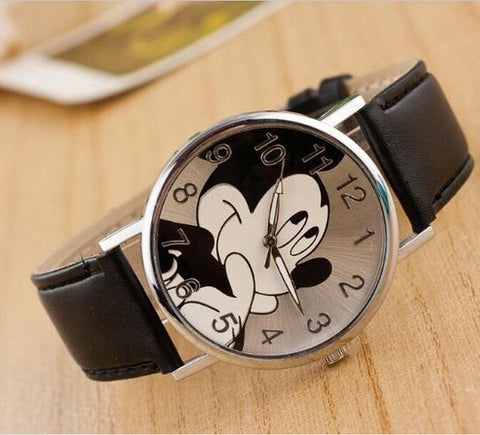 UNISEX MICKEY Themed Quartz Watch w/ Genuine Leather Band