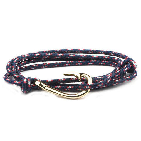 Unisex Sailor/Fishing Inspired Bracelet w/ Gold Hook