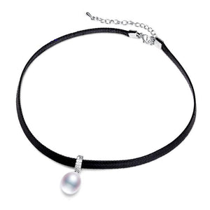 Choker Necklace w/ Singular Freshwater Pearl 13-14mm