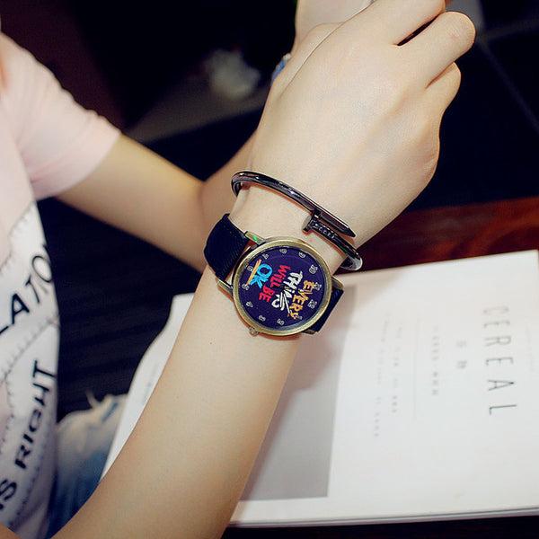 UNISEX Casual Watch w/ Genuine Leather Band