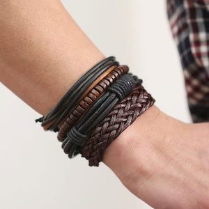 Trendy Adjustable Lace-up Bracelet w/ Genuine Leather