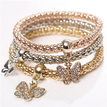 Triple-Layered Butterfly Themed Bracelet