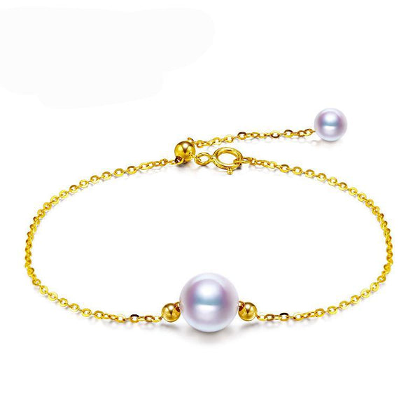 Perfectly Round Akoya Pearl 18K Gold Bracelet