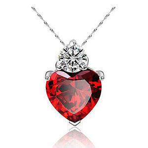 Heart Themed Deep Red Necklace