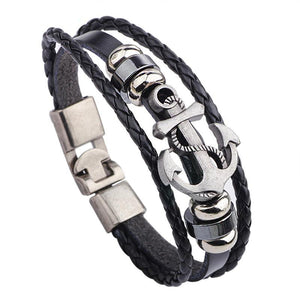 Anchor Themed Bracelet w/ Genuine Leather