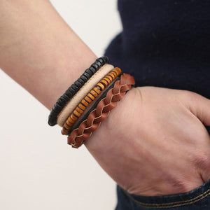 Lace-up 4Piece Bracelet w/ Genuine Leather