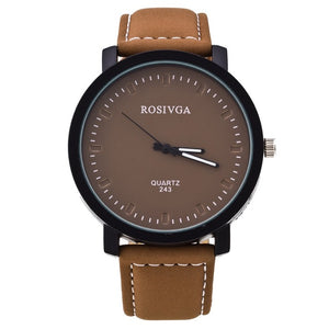 Hardlex Casual Timepiece w/ Genuine Leather Strap