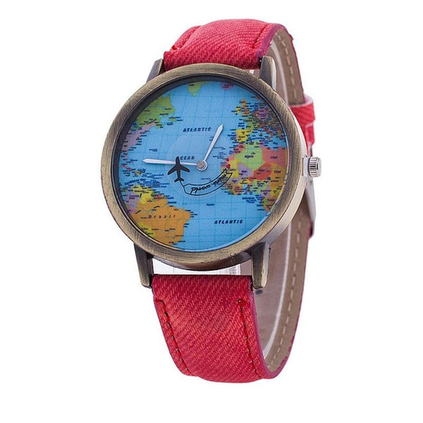 UNISEX World Map Themed Wristwatch Model-1