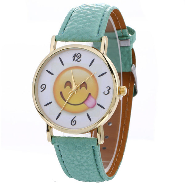 UNISEX Emoji Series Quartz Wristwatch w/ Bycast Leather Iss. 1