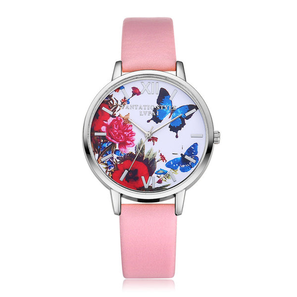 Floral Butterfly Themed Quartz Watch w/ Bycast Leather Band