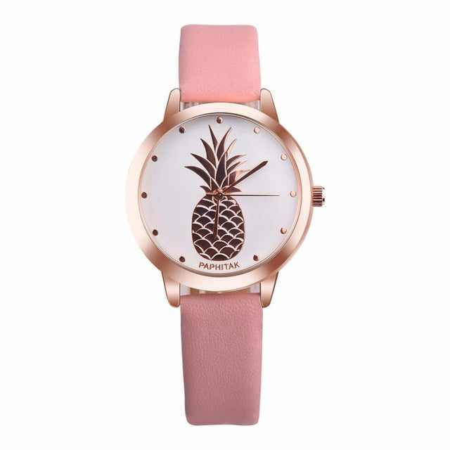 Pineapple Themed Wristwatch w/ Bycast Leather Strap
