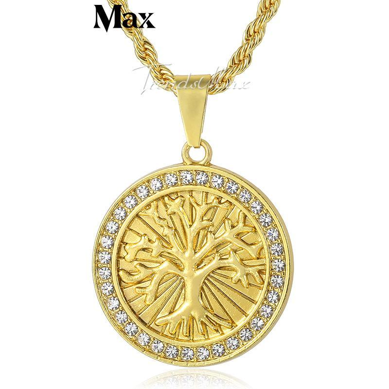 UNISEX Tree Of Life Themed Gold Plated Necklace w/ Rhinestones
