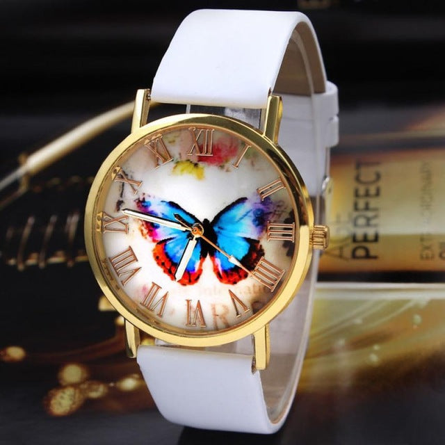 Butterfly Themed Leather Strapped Wristwatch