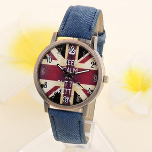 "UNISEX ""Keep calm..."" Flag Dial Quartz Wristwatch w/ Demin Strap"