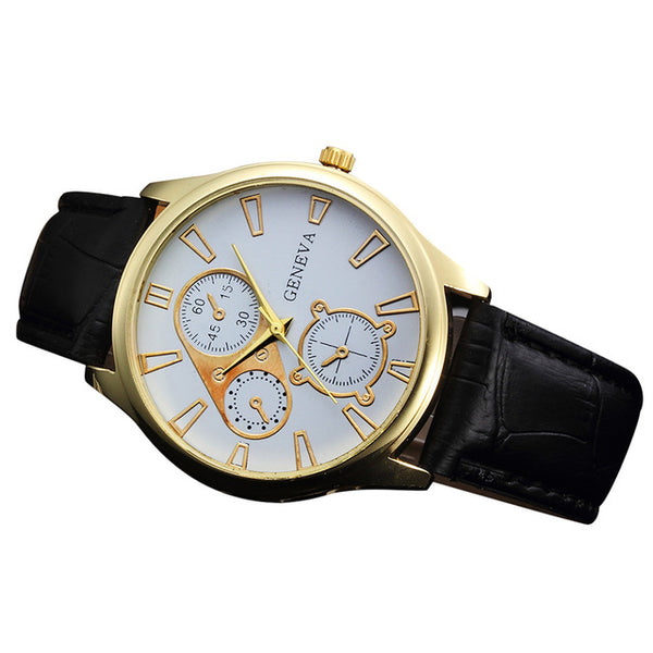 Casual Quartz Movement Timepiece w/ Bycast Leather Strap