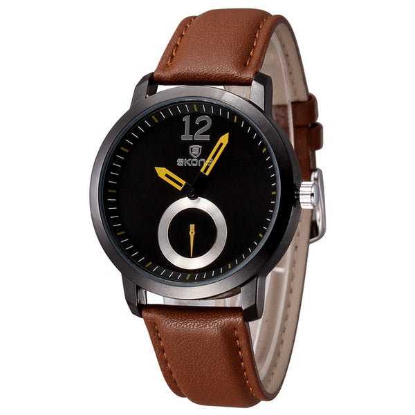 Unisex Hardlex Crystal Dial Watch Genuine Leather Strap
