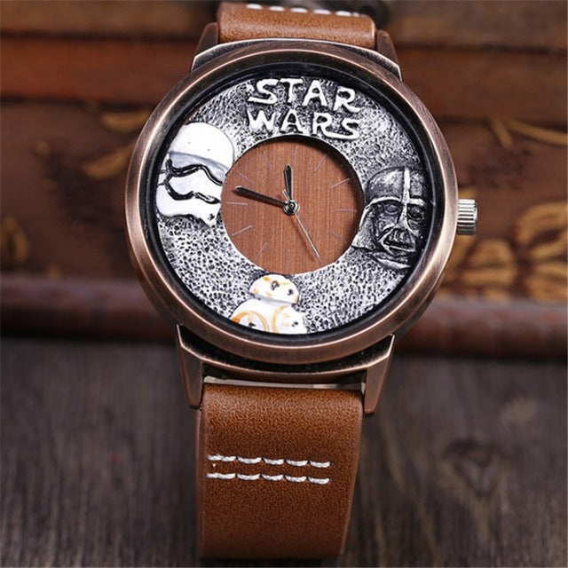 STAR WARS Themed Watch w/ Leather Strap