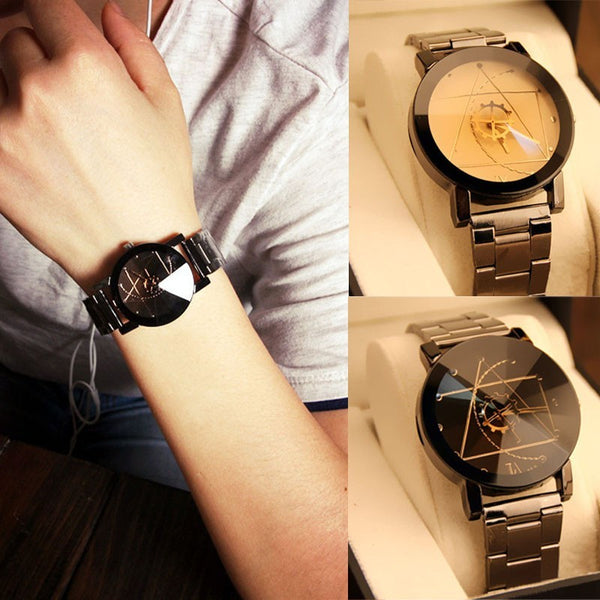 Unisex Hardlex Crystal watch w/ Stainless Steel Strap