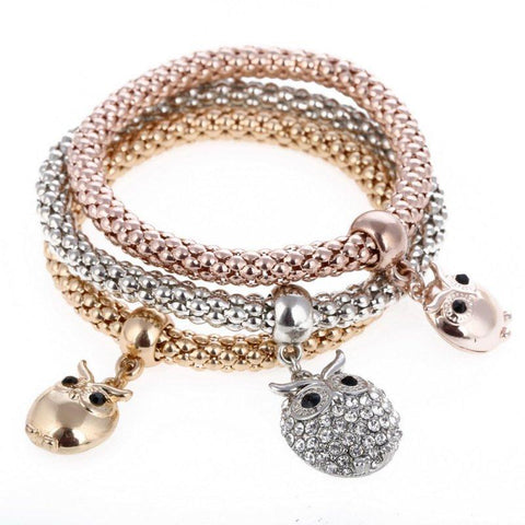 Rose Gold Owl Themed Bracelet