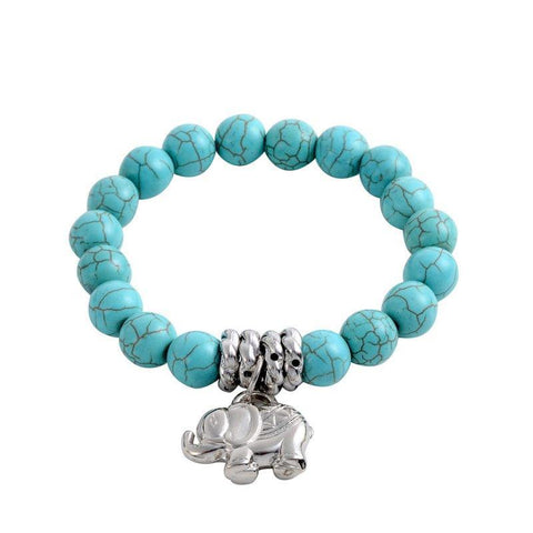 Elephant Themed Natural Stone Bracelet