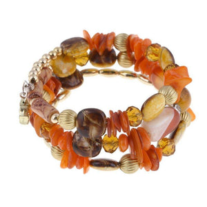 Multilayer Charm Bracelet w/ Resin Stone