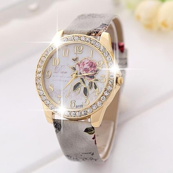 Floral Themed Quartz Wristwatch w/ Genuine Leather Band