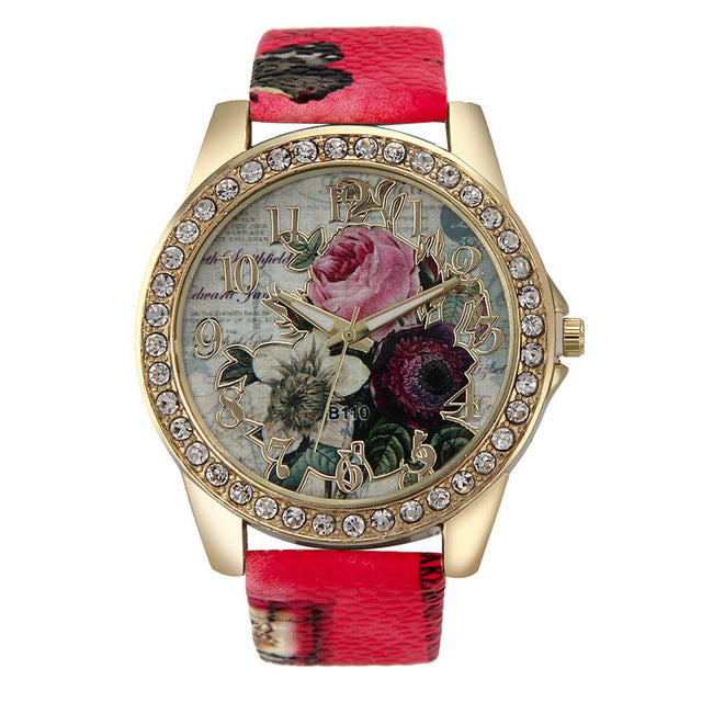 Floral Themed Quartz Watch w/ Genuine Leather Band