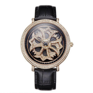 Hardlex Crystal Dial Rhinestone Timeteller w/ Genuine Leather Strap