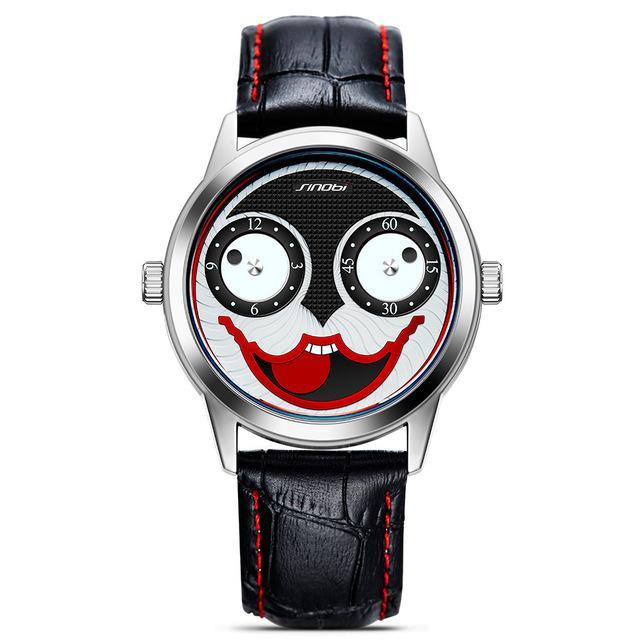 Limited Edition Harley Quinn Joker Themed Watch W/ Genuine Leather Strap