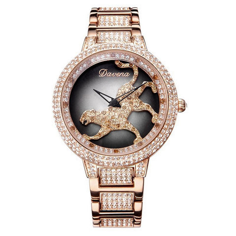 Rose Gold Rhinestone Timeteller w/ Stainless Steel Band