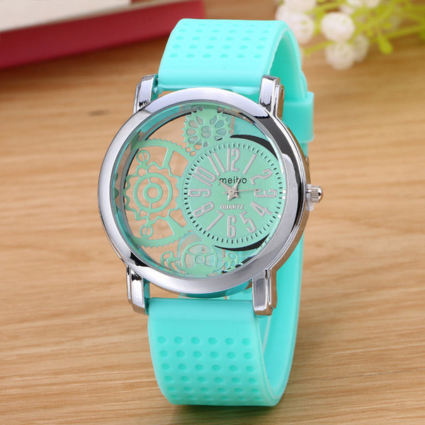 Hollow Dial Wristwatch w/ Silicone Band