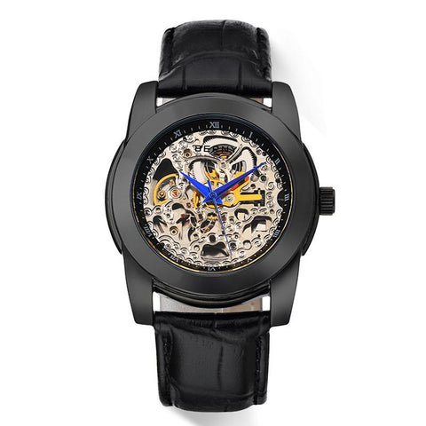 Mechanical Crystal Dial Window w/ Genuine Leather Strap