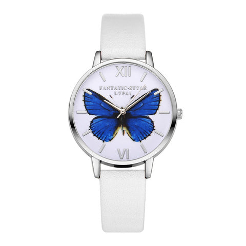 Casual Butterfly Themed Wristwatch w/ Bycast Leather Strap
