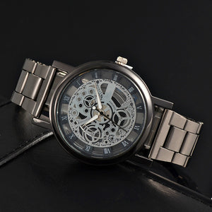 Stainless Steel  Business Style Hollow Quartz Movement Watch