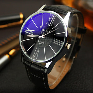Fashionable Quartz Movement Wristwatch w/ Genuine Leather Band