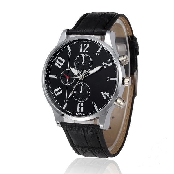 Casual Quartz Timepieche w/ Genuine Leather Strap