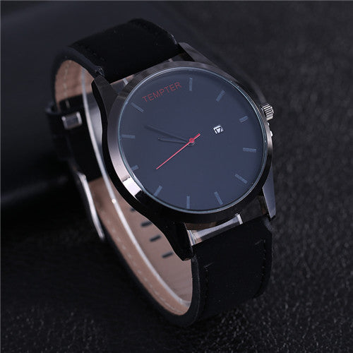 Casual Quartz Movement Timepiece w/ Leather Strap & Calendar