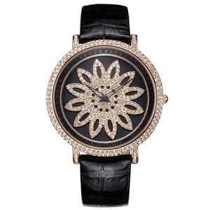 Rhinestone Quartz Timeteller w/ Genuine Leather Strap