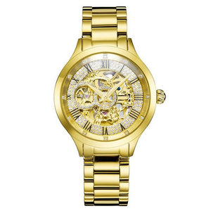Golden Limited Edition Auto-Movement Hardlex Crystal Timeteller w/ Stainless Steel Strap