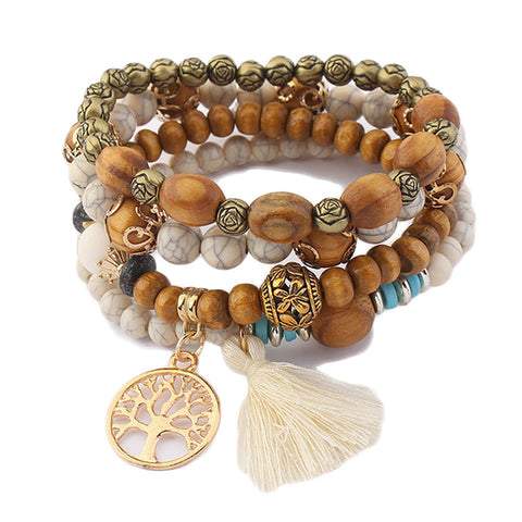 Bohemian Charm Bracelet w/ Wooden Beads & Tree of Life Pendant